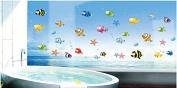 Rainbow Fox Undersea World Marine Animals Little Fish Nursery Room Babyroom Bathroom Baby Bathing Vinyl Wall Decal Wall Sticker