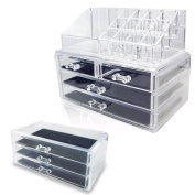 Ikee Design Acrylic Jewellery and Cosmetic Storage Display Boxes 3 Pieces Set