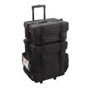 Sunrise Professional Rolling Beauty Black Nylon Trolley Makeup Case