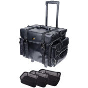SHANY Makeup Artist Soft Rolling Trolley Cosmetic Case with Set of Mesh Bags