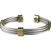 Sabona Trio Cable Stainless Steel/ Gold Magnetic Bracelet