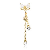 Gold Toned Cubic Zirconia Bow Drop Dangle Reverse Belly Bar Navel Body Piercing
