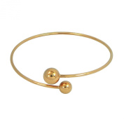 18K Rose Gold Plated Stainless Steel Double Bead Bangle Bracelet - High Quality
