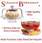 Multi-Function 30cm Cake Stand with Dome Lid / Chip & Dip Platter / Punch Bowl / Salad Bowl - Ideal for Parties by Silicone Bakeware