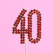 4,5cm Diamante Cake Number 40 RED