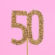 4,5cm Diamante Cake Number 50 Gold