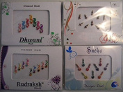 Pack Of 4 x Colourful Crystal Diamanté Gem Bindis - Self Adhesive Stick On Temporary Body Art Tattoo Jewel for Bollywood Party Prom Wedding - Multi Pack Selection Assortment - Selection 91