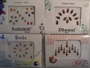 Pack Of 4 x Colourful Crystal Diamanté Gem Bindis - Self Adhesive Stick On Temporary Body Art Tattoo Jewel for Bollywood Party Prom Wedding - Multi Pack Selection Assortment - Selection 45