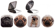 Assorted Design Cute Pug Compact Pocket Mirror Handbag MakeUp Cosmetic Magnifying Travel Folding Foldable Gift Beauty Double Side Dog