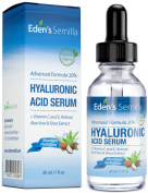 20% Hyaluronic Acid Serum 30ml - Best hydration moisturiser for the face. Contains Vitamin C, Retinol, Vitamin E. Plumps and smoothes fine lines and wrinkles. Antioxidant protection and collagen builder for softer more radiant and healthier looking skin.