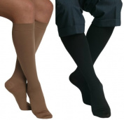 MAXAR 12-15 mmHg Large Beige/Black H-170 Unisex Dress and Travel Support Socks - Pack of 2