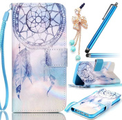Galaxy S7 Edge G9350 Diamond Crystal Embossing Butterfly Case,Sunroyal Luxury PU Leather Wallet Flip Soft TPU Back Cover with Stand Function Card Solt + Anti-dust Plug + HD Screen Protector-Blue