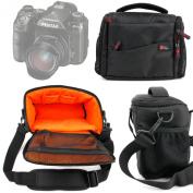 DURAGADGET Shock-Absorbing & Water-Resistant Carry Bag in Black & Orange - Compatible with the NEW Pentax K-1 Camera