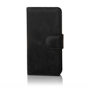 32nd® Premium Leather Wallet Case for Sony Xperia M4 Aqua, case made from genuine luxury Italian leather - Black