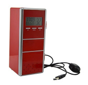 Neon Mini Red USB Fridge Refrigerator Beverage Drink Cans Cooler and Warmer with LCD Display Calendar Time and Temperature (Red 1) Colour