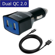 iVoler 36W 2.0 USB 2 Ports Car Charger for Smartphoneswith 2m Micro USB Cable - Black Colour