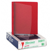 Clear Front Report Cover with Red Leatherette Back