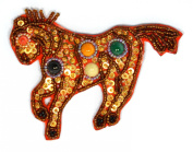 Fantasy Horse Brooch Small Porcelain and Glass Beads - Jewellery