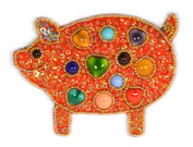 Novelty Pig Brooch Porcelain and Glass Beads - Jewellery