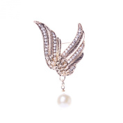 ANDAY Elegant Gold Plated Angel Wings Faux Pearl Crystal Pin Brooch