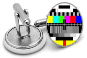 TV TEST CARD cuff links with velvet pouch