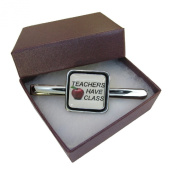 Handmade Teacher Design - Teachers Have Class - Silver Plated Mens Square Tie Pin Slide - Gift Boxed