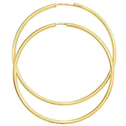 Large Hoop Earrings 50 MM Made From 333 Yellow Gold Thin Damen