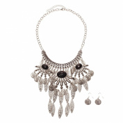 La Modeuse - Decorated with a Metal Hollow Out Necklace with 3 Pendants Hanging, featuring the Antique