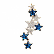 Fashion Punk Style Creative Rhinestone Pentagram Shaped Pendant Clip On Earring Women Girls Gift