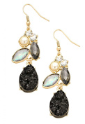 Rosemarie Collections Women's Black Faux Crystal Pearl Earrings