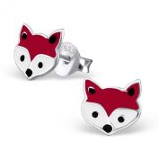 Laimons - Stud Earrings - Kids - 925 Sterling Silver - Fox Head - Brown & White