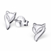 Laimons - Stud Earrings - Kids - 925 Sterling Silver - Fox - Shiny