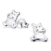 Laimons - Stud Earrings - Kids - 925 Sterling Silver - Hippo - Shiny