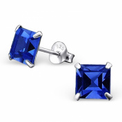 Laimons - Stud Earrings - Women - 925 Sterling Silver - Square - Blue - Sparkling