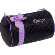 Silver Lilly Girls Dance Bag - Quilted Duffle Bag w/ Bow
