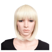 S-noilite Bleach Blonde Short BOB Full Head Wig Cosplay Party Daily Dress Real Thick High Quality Reusable