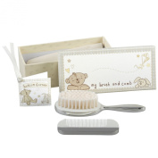 Button Corner Silverplated Baby Brush and Comb Set