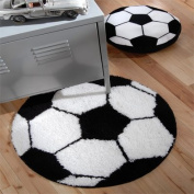 Catherine Lansfield Kids It's A Goal Rug, Black/White, 70 x 70 Cm