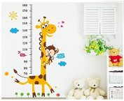 Monkey climbing on Giraffe Growth Chart wall sticker measuring children height wall decal