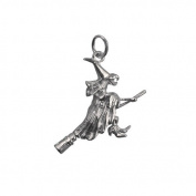 Silver 15x25mm solid Witch on a Broomstick Pendant or Charm