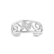 Vorra Fashion 925. Sterling Silver Round Cut Cubic Zirconia Butterfly Wave Design Toe Ring