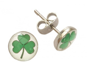 St Patrick's Day/ 6 Nations Rugby Green Clover 8mm Glass Cabochon and Stainless Steel Earrings