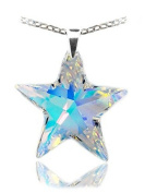 Sterling Silver 925 Made with. Crystals Aurora Borealis Star Pendant Necklace,18