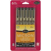 Pigma Micron Pens 01 .25mm 6/PkgBlack
