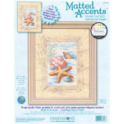 Matted Accents Shells In The Sand Counted Cross Stitch Kit-20cm x 25cm Mat, 10cm x 15cm Opening