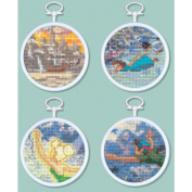 Peter Pan Mini Vignettes Counted Cross Stitch Kit-7.6cm Round 16 Count Set Of 4