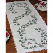 Stamped Lace Edge Table Runner 15inX42inIvy