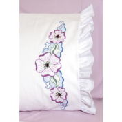 Stamped Ruffled Edge Pillowcases 30inX20in 2/PkgLarge Flower