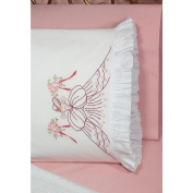 Stamped Ruffled Edge Pillowcases 30inX20in 2/PkgBouquet Lady