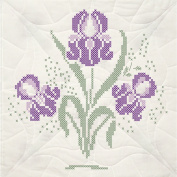 Stamped Quilt Blocks 18inX18in 6/PkgIris With Quilting Marks